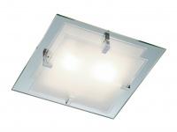 TRIO Deckenleuchte, 2 x E14, 32 x 32cm, Spiegelglas/Glas satiniert