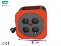 Handliche Kabelbox Kabeltrommel rot, 10M, Überhitzungsschutz Verlängerungskabel