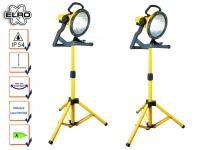 2er Set Baustrahler IP54 höhenverstellbar mit Energiesparlampen Fluter Strahler