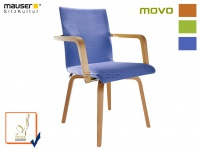 Armlehnstuhl MOVO blau Esszimmerstuhl Küchenstuhl Seniorenstuhl Holzstuhl