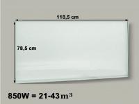 850W Glasheizpaneel, Infrarotheizung weiß, Glaspaneel ohne Rahmen, Vitalheizung