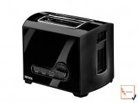 Toaster Röster schwarz, 2 Scheiben, Brötchenaufsatz, Toastautomat Brotröster
