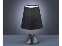 Elegante Marmor LED Nachttischlampe, Stoffschirm in schwarz moderne Tischlampe
