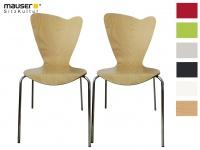 2er Design Stuhl HEART buche Stapelstuhl Esszimmerstuhl Bistrostuhl Schalenstuhl