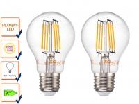 2er-Set FILAMENT-LED E27, 6 Watt, 600 Lumen, 2700 Kelvin, warmweiß