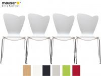 4er Design Stuhl HEART weiß Stapelstuhl Esszimmerstuhl Bistrostuhl Schalenstuhl