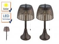 2er Set Vintage LED Solar Tischleuchten für Garten - Erdspieß Wegeleuchten Außen