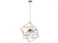 Retro LED Pendelleuchte mit käfigartigem Schirm in Braun/Gold - Esstischlampen