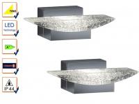 LED Badleuchte Wanlampe Serie 2825 im 2er Set Chrom, Acryl klar mit Blasen, IP44
