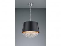 LED Pendellampe mit rundem Stoffschirm in schwarz/gold und Acryl-Behang in klar