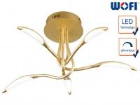 Dimmbare LED Deckenleuchte Goldfarbig 5-flammig Deckenbeleuchtung Wohnzimmer