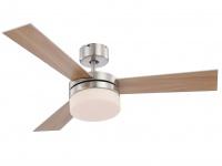 Deckenventilator mit Beleuchtung & Fernbedienung, 2 Flügelfarben silber/Buche