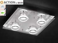 LED Deckenleuchte 30x30 cm, Chrom / Glas / Acryl, Action by Wofi