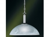 Hängeleuchte, Nickel matt, Glas alabaster weiß, Honsel-Leuchten, TWIN