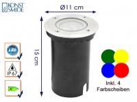 LED Bodeneinbaustrahler 11cm, 4 Farben, Edelstahl, Leuchte Garten Wege außen