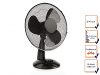 Schwarzer Tischventilator, 3 Leistungsstufen, Ø 40 cm, oszillierend Luftkühler