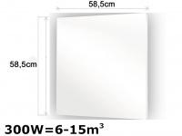 300W Glasheizpaneel, Infrarotheizung weiß, Glaspaneel ohne Rahmen, Vitalheizung