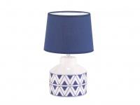 Schöne Tischleuchte mit 3W LED & blauem Stoffschirm Keramik weiß blau, Flurlampe