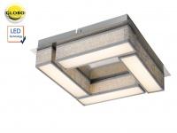 Moderne LED Deckenleuchte PACO 30x30 cm Textil grau, Deckenlampe Wohnzimmer Flur