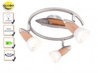 Globo Rondell Deckenleuchte LED Deckenstrahler LORD mit Holz, Schirme satiniert
