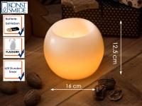 LED Echtwachskugelkerze weiß 4/8h Timer Ø 16cm flackernde Diode Dekoration