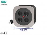 Handliche Kabelbox Kabeltrommel grau, 10M, Überhitzungsschutz Verlängerungskabel