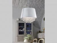 Coole LED Pendelleuchte mit rundem Stoffschirm in Silber Acryl-Behang in klar