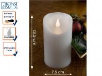 LED Echtwachskerze 3D Flamme & Timer Batteriebetrieb H. 13, 5 cm Stimmungslicht