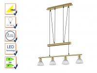 Trio Levisto Hängeleuchte 4flammig messing matt höhenverstellbar LED