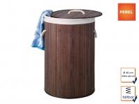 Bambus Wäschekorb mit Wäschesack, faltbar, braun, Wäschesammler Wäschetonne