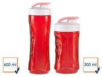 2er SET Ersatzflaschen geruchsneutral 300+600ml Rot für Smoothie Maker DO434
