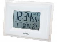 Funkuhr mit Alarm & Snooze, Thermometer, Smart Glow, silber-weiß