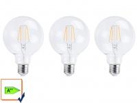 3er-Set FILAMENT LED Leuchtmittel Globe E27, 6 Watt, 806 Lumen, 2700K, warmweiß