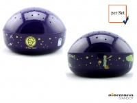 2er Set LED Nachtlicht Baby, projiziert Sterne ins Kinderzimmer Schlummerlampe