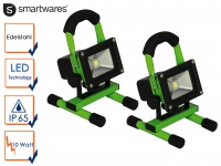 2er Set 10Watt LED Baustrahler tragbar mit Akku IP65, Fluter Arbeitsscheinwerfer