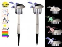 2er Set LED Solarlampen mit Erdspieß und Farbwechsel, Erdspießleuchten Kolibri