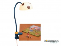 Biegsame Klammerleuchte Leseleuchte FUSSBALL mit Schnurschalter & Flexrohr *NEU*