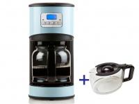 Kaffeemaschine in Blau mit 24-Std. Timer, 2 x 1, 5 Liter Glaskanne, LCD-Anzeige