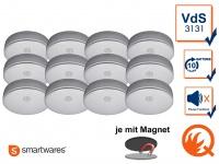 12er SET Rauchmelder 10 Jahres Batterie, VdS & Q-Siegel mit EASY Magnethalterung