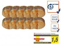 10er SET Brand-Melder Holzoptik 5 Jahres Batterie, EN14604 geprüft, Alarm Feuer