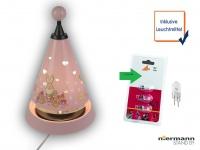 Nachttischleuchte Carrousel projiziert viele Herzen, mit 3er Set Leuchtmittel