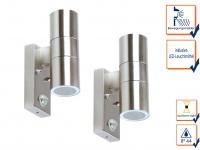 2er SET Außenwandleuchte mit Bewegungsmelder up/down-Light + LED-Leuchtmittel