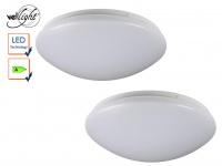 2er Set LED Deckenlampen weiß Deckenleuchte rund 38, 5cm, Deckenbeleuchtung Flur
