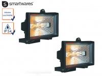 2er Set Außenstrahler / Flutlichtstrahler mit 120 Watt Halogen Leuchtmitteln