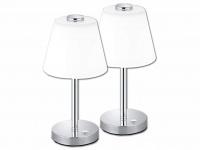 2 Stck LED Wohnzimmerlampe Chrom TOUCH dimmbar Nachttischleuchte Glasschirm weiß