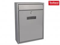 Silberner Briefkasten 2 Schlüsseln Design Postkasten Wandbriefkasten 26x8x36 cm