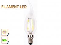 FILAMENT LED Leuchtmittel Kerze E14, 2 Watt, 200 Lumen, 2700K, warmweiß