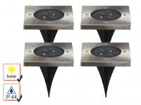 4er-Set Solar Bodeneinbaustrahler Bodenleuchten Bodenstrahler Einbaustrahler