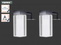 2er Set Spiegelleuchten mit LED, Lampenschirme Glas rund eckig, Badezimmerlampen
