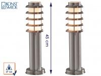2er Set Konstsmide Energiespar Sockelleuchte TRENTO, IP44 Wegeleuchte Edelstahl